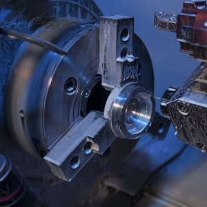Precision CNC machining with a lathe to turn a part